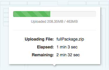 Screenshot of file upload progress